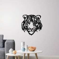 Download 3D print files Tiger face wall decoration, 3dprintlines