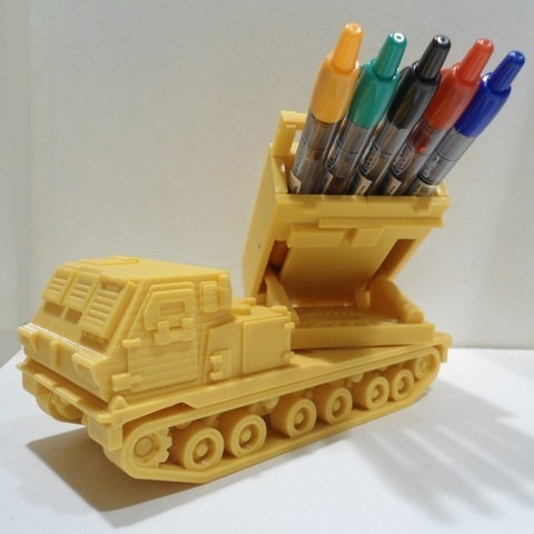 Download STL Missiles Launcher Pen & Pencil holder, 3dprintlines