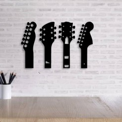Download 3D printer model Guitar Neck Wall Decoration ( set of 5 models ), 3dprintlines