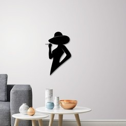 STL files Silhouette lady profile wall Art, 3dprintlines