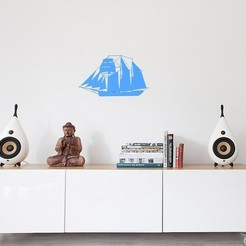 3D printer files Sailing boat for wall decoration_1, 3dprintlines