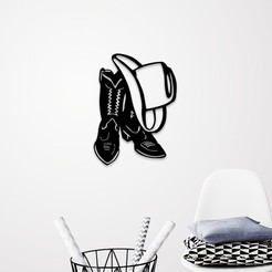 Download STL file COW BOY HAT & SHOES WALL ART, 3dprintlines