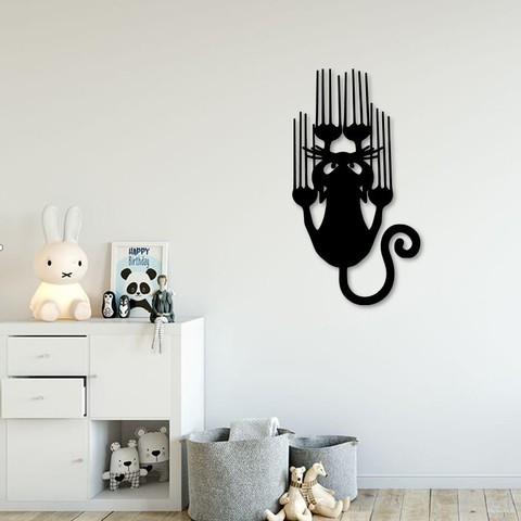 Download 3D printer designs Slipping cat for wall decoration, 3dprintlines