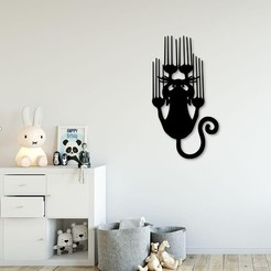 3D print model Slipping cat for wall decoration, 3dprintlines