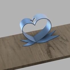 Télécharger fichier impression 3D Porte-fleurs de bureau avec ruban en forme de coeur, 3dprintlines