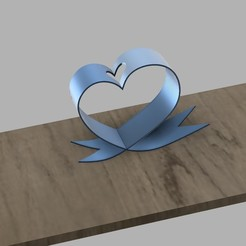 Download STL Desktop heart ribbon flower holder, 3dprintlines
