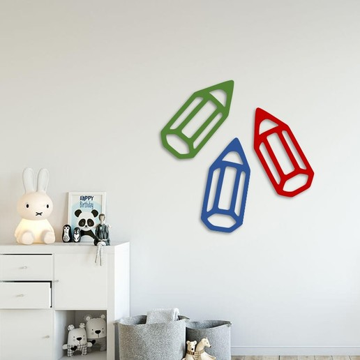 Download free STL Coloring pencils wall decoration  , 3dprintlines