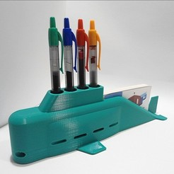 Download 3D printer model Submarine Pens and Business Cards Holder , 3dprintlines