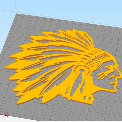 Indian_3.jpg Download STL file Indian man wall decoration • 3D printable model, 3dprintlines