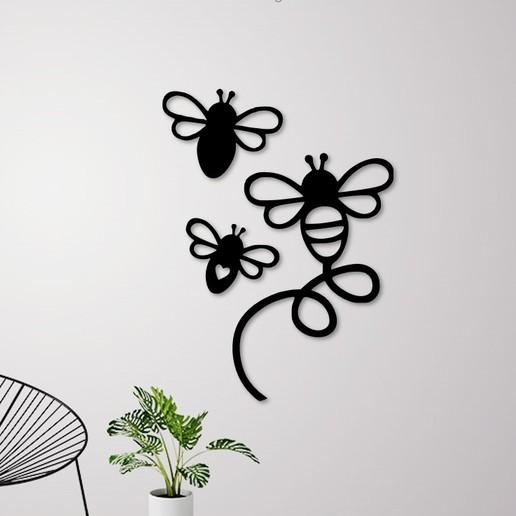 Descargar diseños 3D Decoración de pared de las abejas voladoras, 3dprintlines