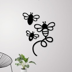 Download 3D printing files Flying Bees Wall Decoration , 3dprintlines