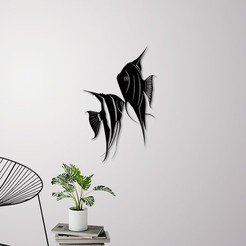 STL file Angel fish wall art \ Decor, 3dprintlines