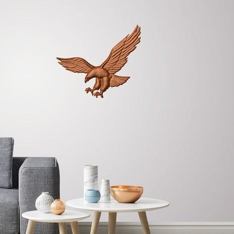 3D print model Eagle 3D wall decoration ・ Cults