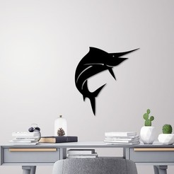 STL Sail fish for wall decoration, 3dprintlines