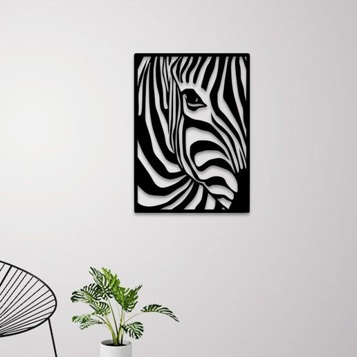 Télécharger fichier imprimante 3D Zebra portrait art mural, 3dprintlines