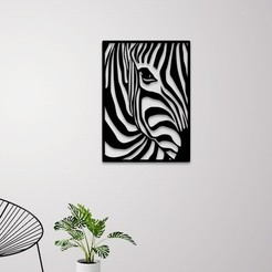 Download 3D printer files Zebra portrait wall art , 3dprintlines