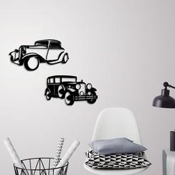 Télécharger plan imprimante 3D Décoration murale de voitures classiques, 3dprintlines