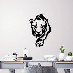 STL Tiger wall art, 3dprintlines