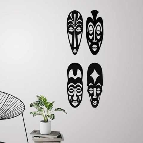 Download 3D model African masks ( 4 masks ) for wall decoration, 3dprintlines