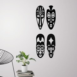 Download 3D model African masks ( 4 masks ) for wall decoration, 3dprintlines