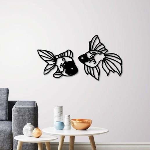 Télécharger fichier imprimante 3D Fantail Décoration murale poisson rouge, 3dprintlines