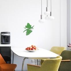 STL Rama de uva para decoración de pared, 3dprintlines