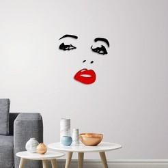 Download 3D printer designs Lady face wall decoration , 3dprintlines