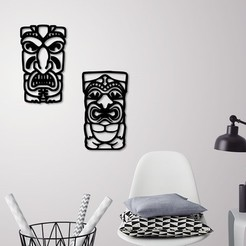 Download 3D printing templates African mask wall decoration ( 2 Masks ), 3dprintlines