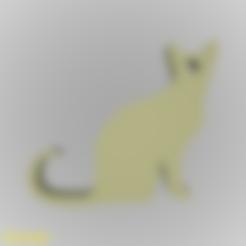 keychain-cat-001.stl Download free STL file Cat Silhouette Key Chain • 3D printable object, GadgetPrint