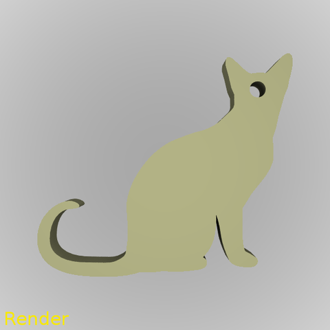keychain-cat-001-render-1.png Download free STL file Cat Silhouette Key Chain • 3D printable object, GadgetPrint