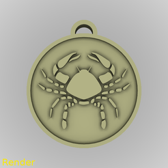 medallion-cancer-001-render.png Download STL file Cancer Zodiac Medallion Pendant • 3D printing object, GadgetPrint