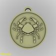 Modelos 3D Colgante de Medallón Zodiacal de Cáncer, GadgetPrint
