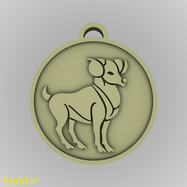 medallion-aries-001-render.png Download STL file Aries Zodiac Medallion Pendant • Design to 3D print, GadgetPrint