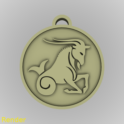medallion-capricorn-001-render.png Download STL file Capricorn Zodiac Medallion Pendant • 3D printable object, GadgetPrint