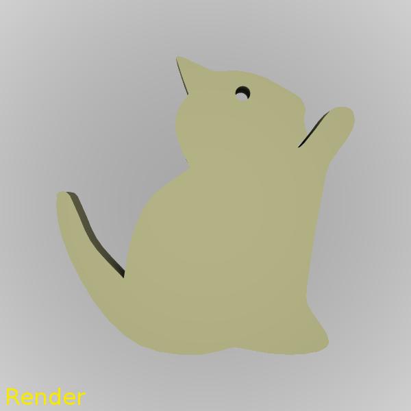 keychain-kitten-001-render-1.png Download free STL file Kitten Silhouette Key Chain • 3D printer model, GadgetPrint