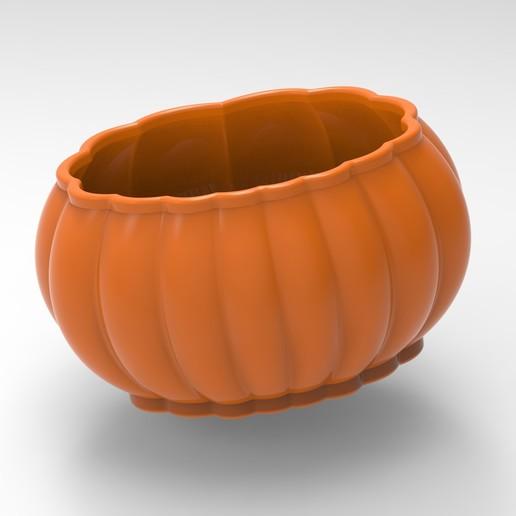Download STL file halloween pumpkin planter, Mooos