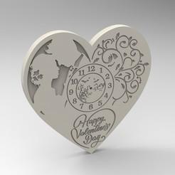 Descargar archivos 3D reloj de San Valentín, Mooos