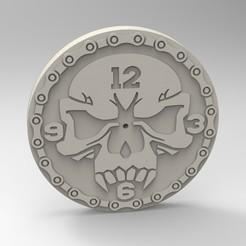 Télécharger fichier impression 3D horloge crânienne, Mooos