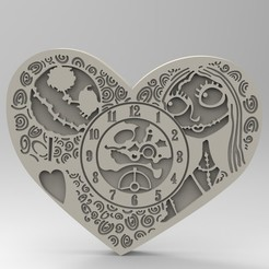 3D printer models clock of love, Mooos