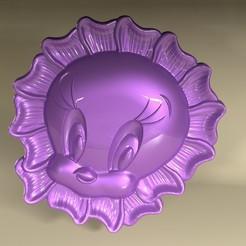 tweee2.jpg Download STL file tweety face flower 3D logo • 3D printable design, Mooos