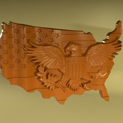 Download 3D printer designs USA american eagle flag, Mooos