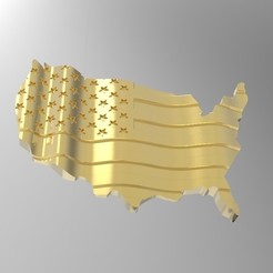 Download 3D printer templates wavy american flag, Mooos