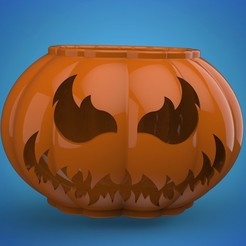 pumpppkkkkk.268.jpg Download STL file halloween pumpkin flower pot • 3D printer model, Mooos