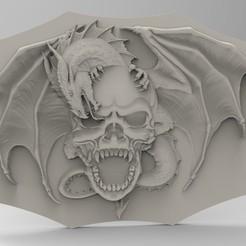 3D print files skull dragon, Mooos
