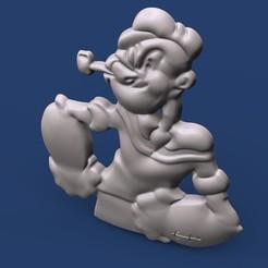 popeyeeeee.302.jpg Download STL file popeye 3D logo • Template to 3D print, Mooos
