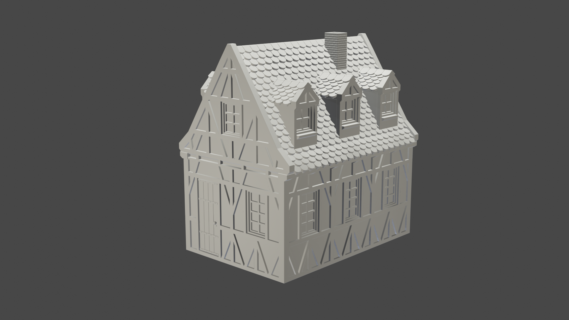 v2.png Télécharger fichier STL maison à charpente médiévale - décoration - table/terrain de jeu • Modèle pour impression 3D, pyrokahd