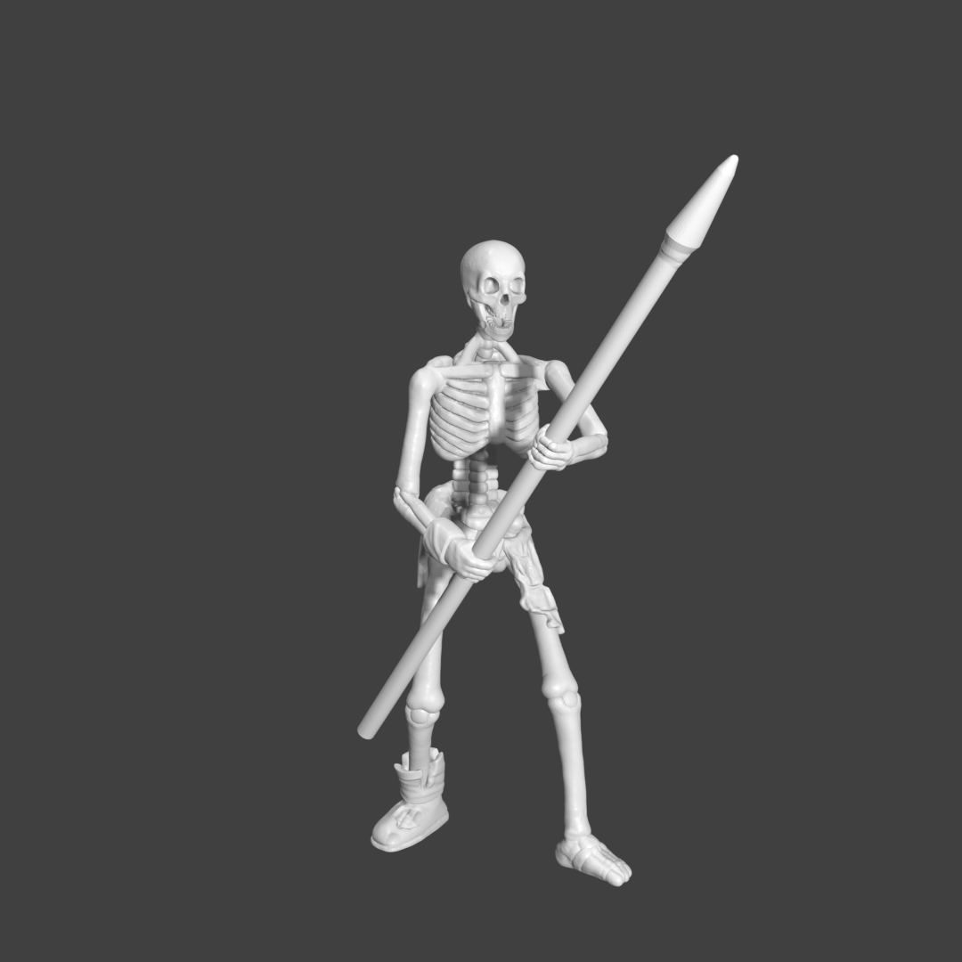 SpearRender.png Download STL file Sekeltons - 28mm D&D Miniatures  • 3D printing template, pyrokahd