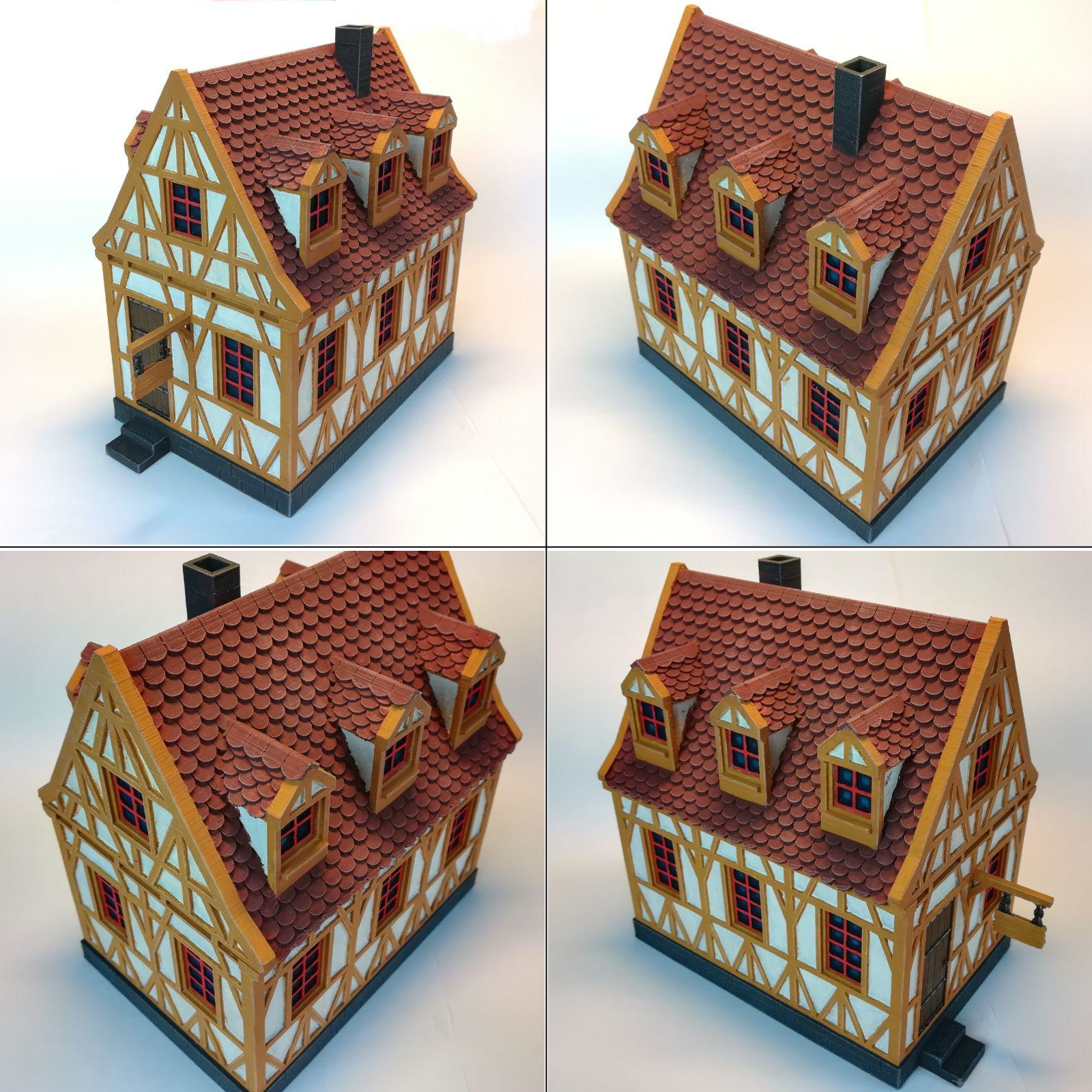 4Painted.png Download STL file medieval frame house - decoration - tabletop/wargaming terrain • 3D printable design, pyrokahd