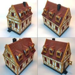 4Painted.png Télécharger fichier STL maison à charpente médiévale - décoration - table/terrain de jeu • Modèle pour impression 3D, pyrokahd