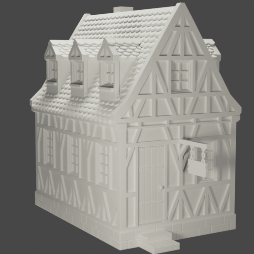 house1.png Download STL file medieval frame house - decoration - tabletop/wargaming terrain • 3D printable design, pyrokahd